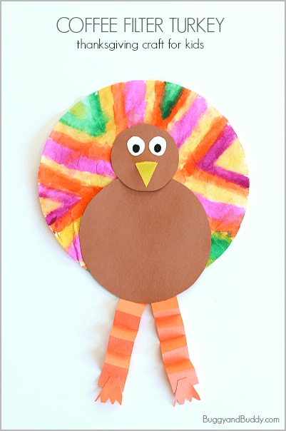 Thanksgiving Crafts for Kids: Coffee Filter Turkey Craft~ BuggyandBuddy.com