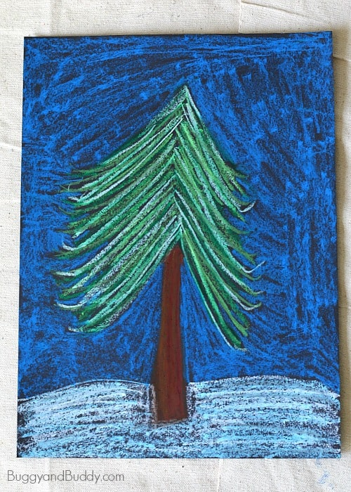 Oil Pastel Winter Tree Art Project for Kids  Buggy and Buddy