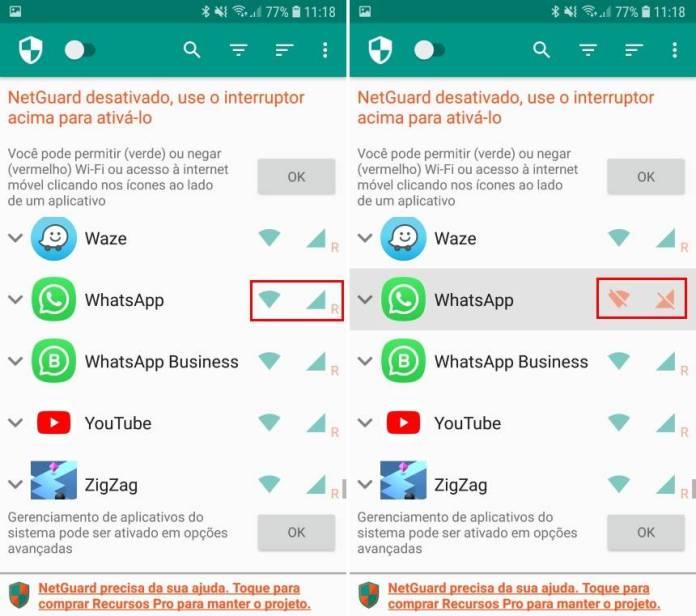 Deixar WhatsApp Off