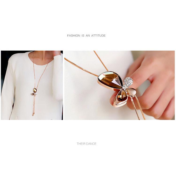 Classic Crystal Butterfly Tassel Long Necklace Women Bijoux New ...