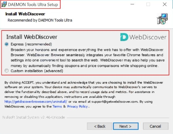 webdiscover browser installer