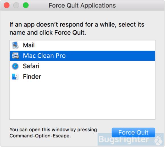 Mac Clean Pro force quit