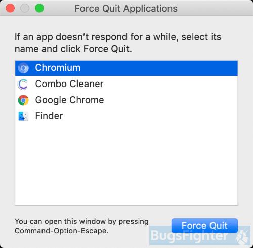 Chromium force quit