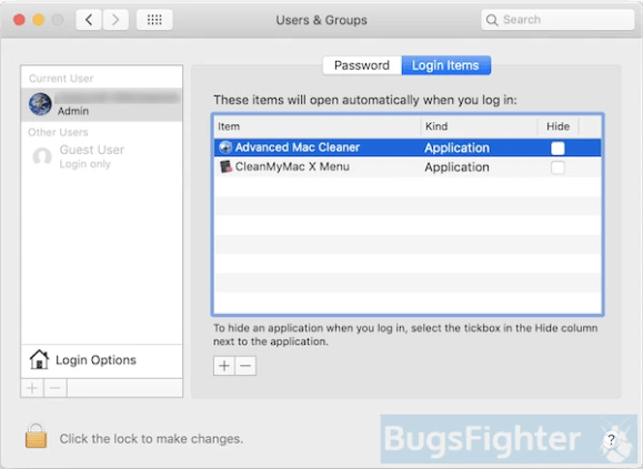 remove advanced mac cleaner from login items