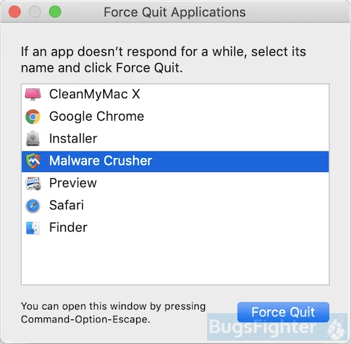 Malware Crusher force quit
