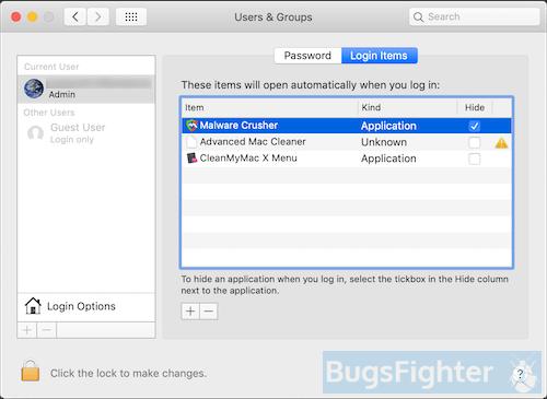 malware crusher login items on mac