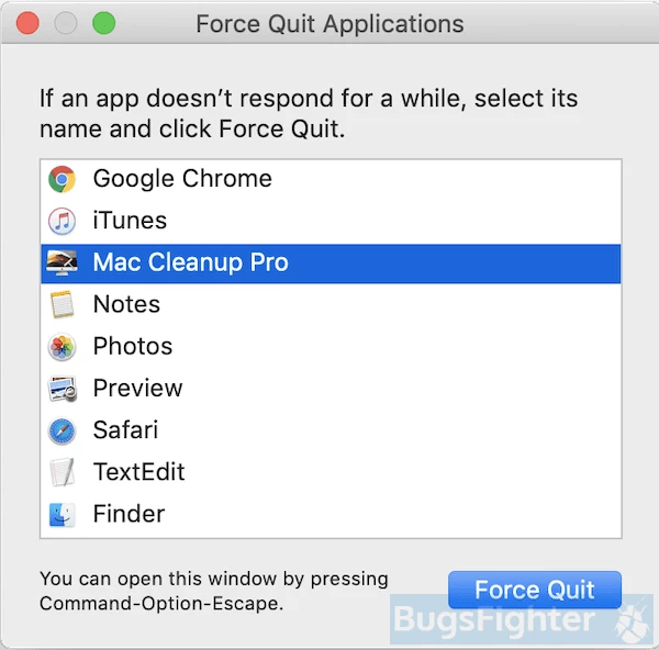 Mac Cleanup Pro force quit