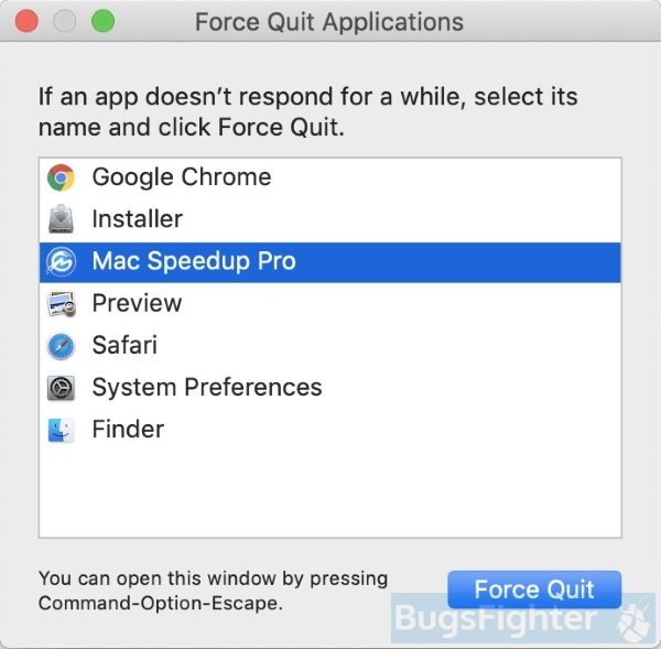 mac speedup pro force quit