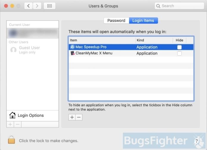 remove mac speedup pro from login items