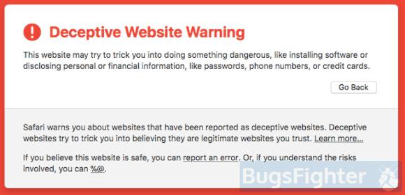 deceptive website warning in safari