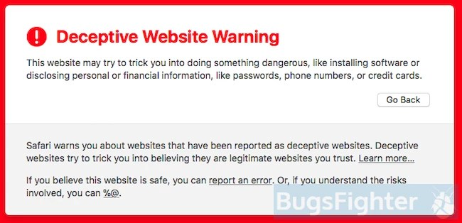 deceptive website warning in safari