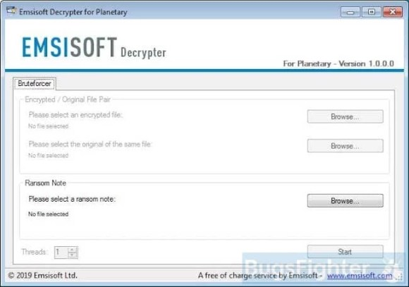 emsisoft planetary ransomware decryptor