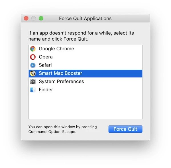 Smart Mac Booster force quit