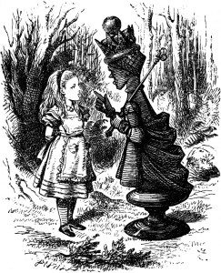 Sir John Tenniel's drawing of Alice's First Meeting with the Red Queen