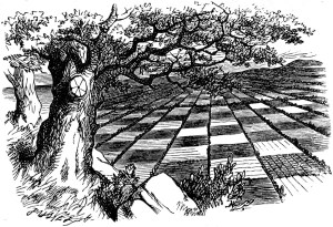 Sir John Tenniel's drawing of The Chessground viewed by Alice and The Red Queen from the Hilltop