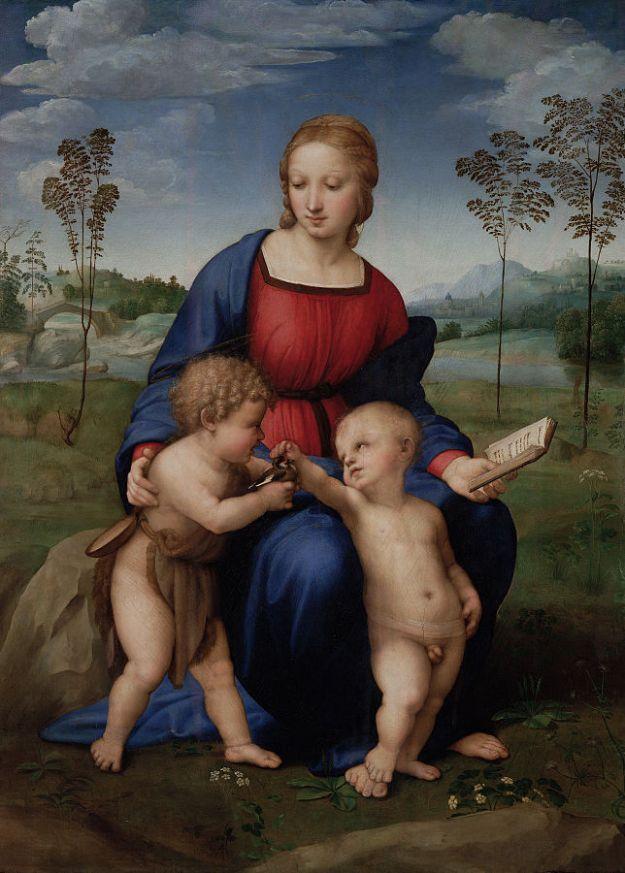 "Raphael's Madonna of the Goldfinch ""Raffaello Sanzio - Madonna del Cardellino - Google Art Project"" by Raphael - oAFhnMjj7HippQ at Google Cultural Institute, zoom level maximum. Licensed under Public domain via Wikimedia Commons - http://commons.wikimedia.org/wiki/File:Raffaello_Sanzio_-_Madonna_del_Cardellino_-_Google_Art_Project.jpg#mediaviewer/File:Raffaello_Sanzio_-_Madonna_del_Cardellino_-_Google_Art_Project.jpg"
