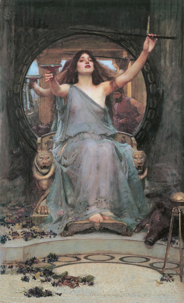 Circe Offering the Cup to Odysseus, by John William Waterhouse. Note the tell-tale pig on the right hand side. Just as well Odysseus has his Snowdrops!