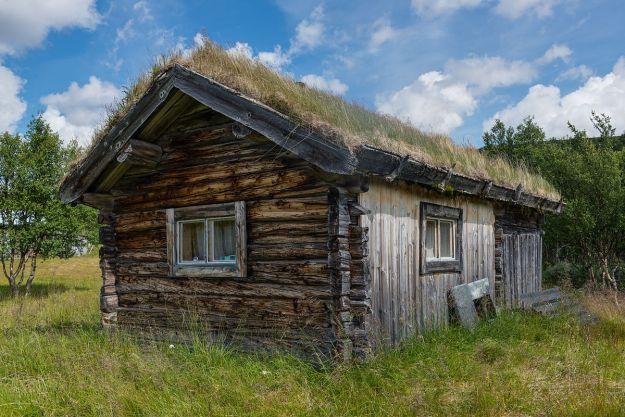 "Sod roof in Ljungris, Sweden. ""Ljungris July 2013"" by Arild Vågen - Own work. Licensed under CC BY-SA 3.0 via Wikimedia Commons"