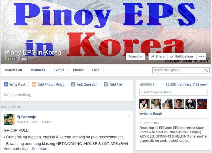 A screen capture of Pinoy EPS in Korea Facebook group ~