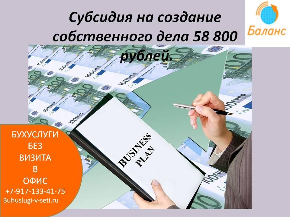 Субсидия 58800 от ЦЗН