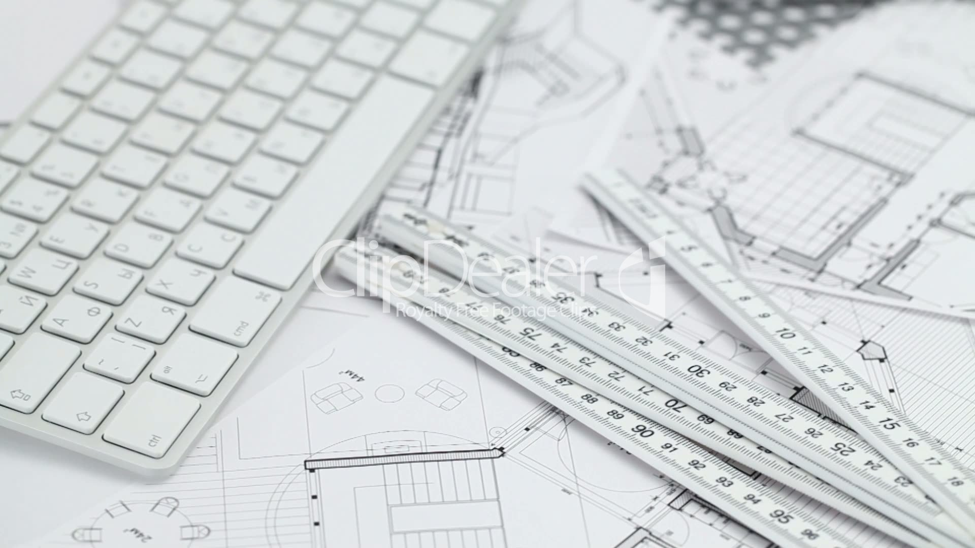 keyboard & architectural plans: Royalty-free video and
