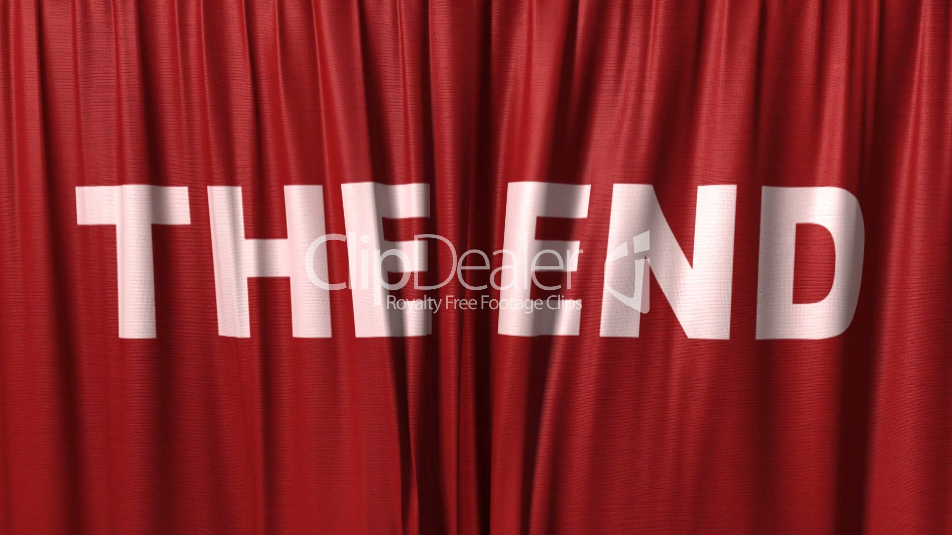 closing red curtain with title the end Royaltyfree