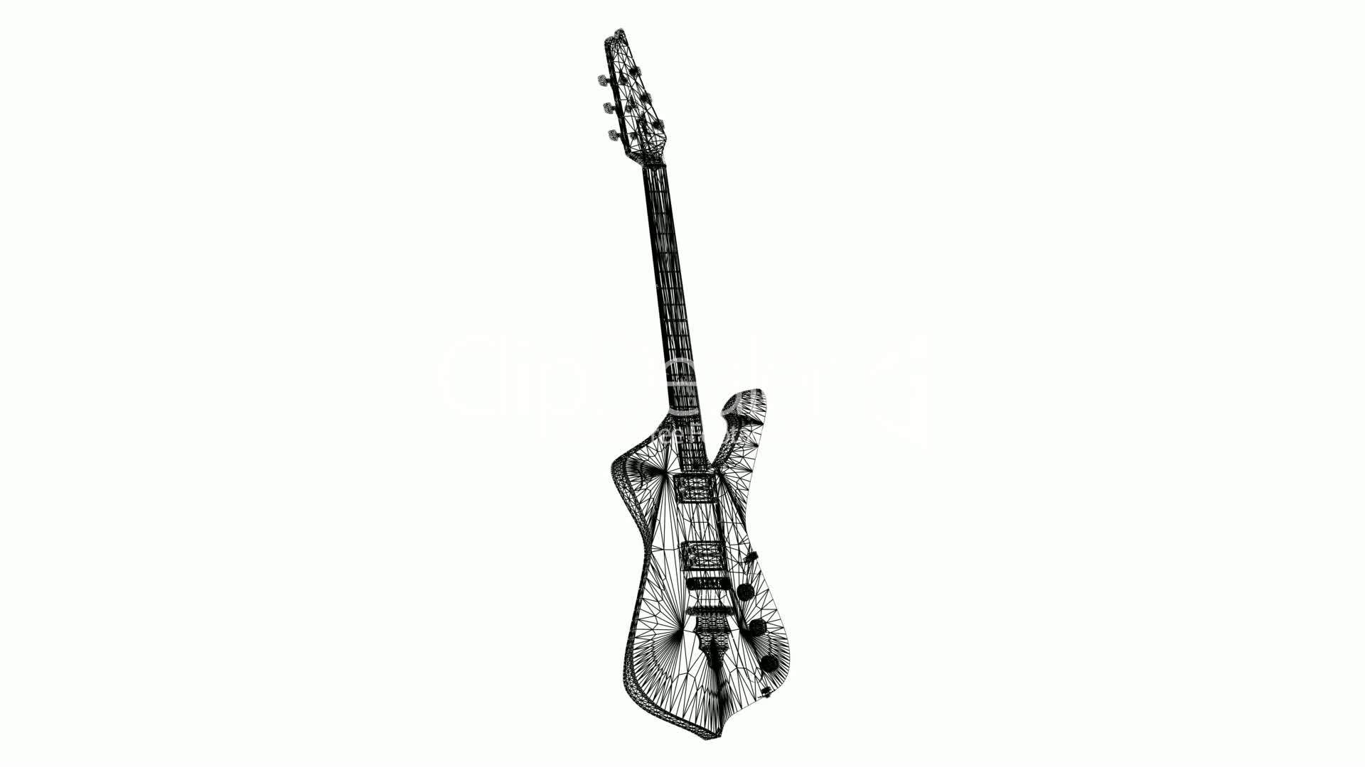 Rotation Of 3d Electric Guitar Sic Musical Instrument String Rock Electric Art Sound Acoustic