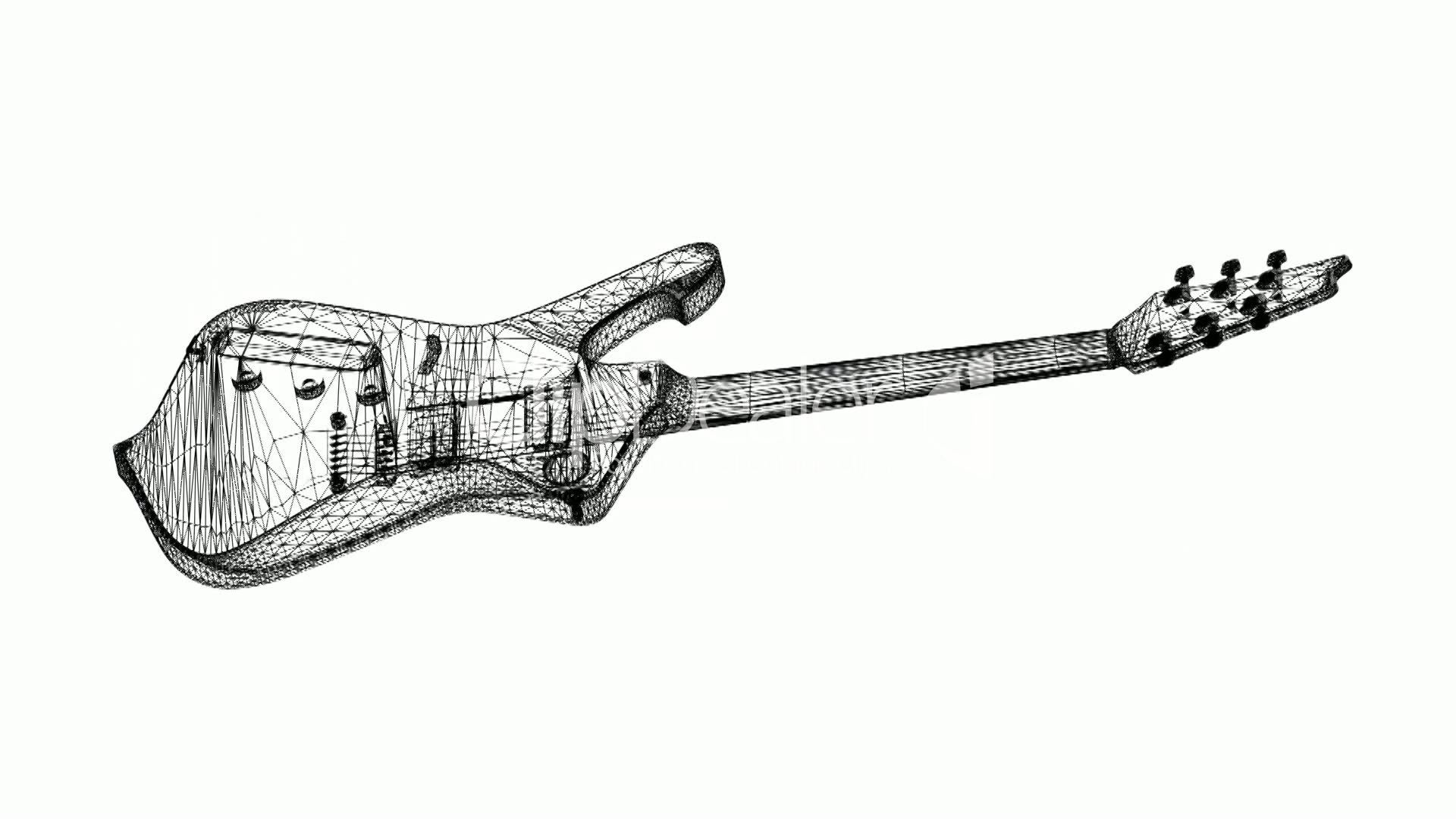 Rotation Of 3d Electric Guitarsic Musical Instrument