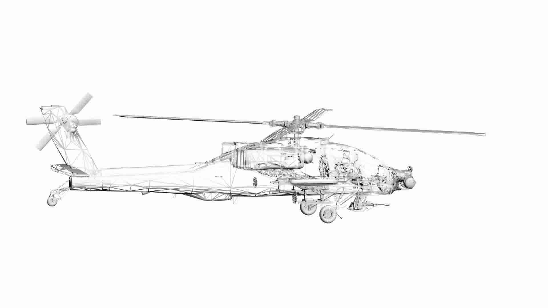 Rotation of 3D Helicopter.rotor,transport,flight,fly,air