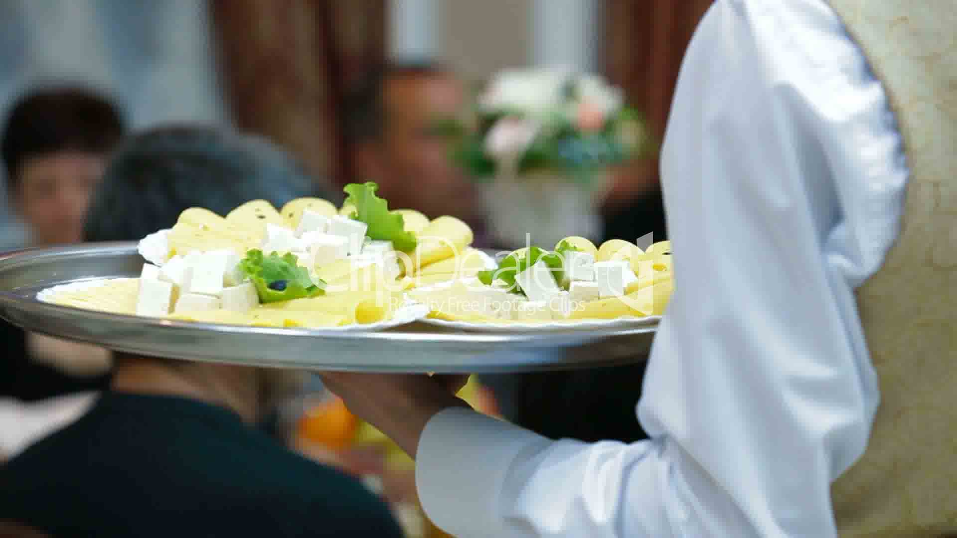 Waiters serving reception Royaltyfree video and stock footage
