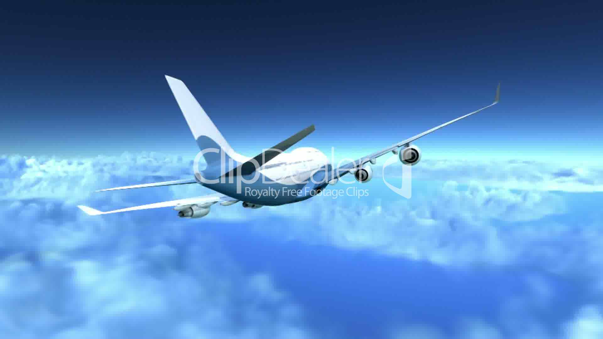 Airplane Flying Over Clouds 3d Animation Lizenzfreie
