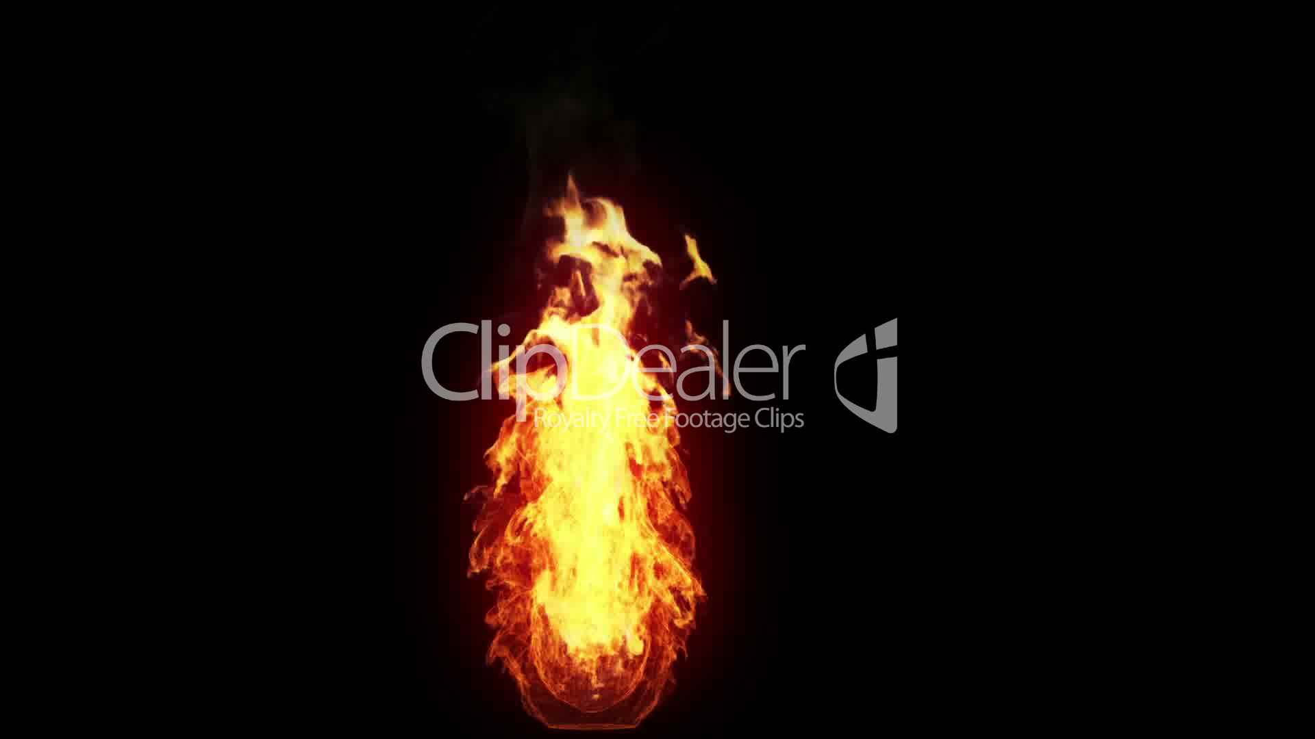 Burning torch alpha Royaltyfree video and stock footage