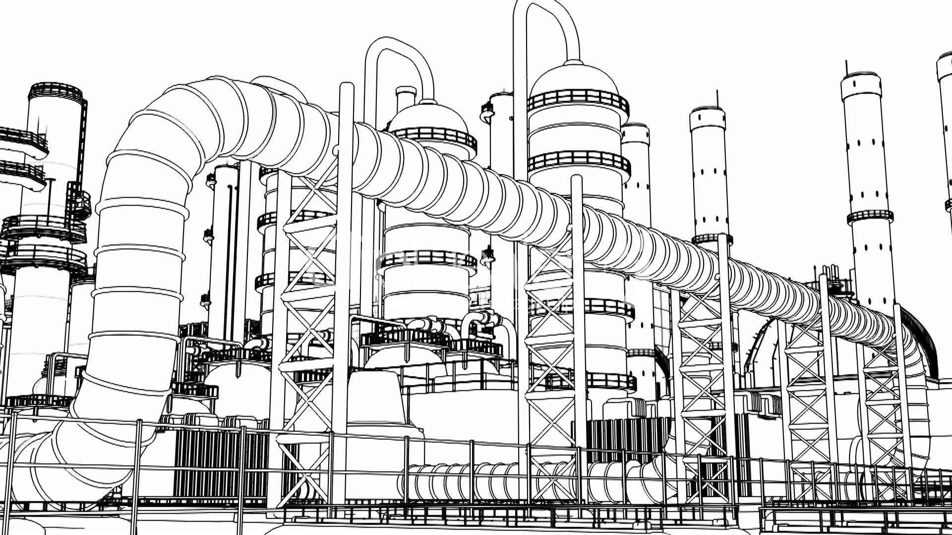 Chemical Plant, wire frame: Royalty-free video and stock