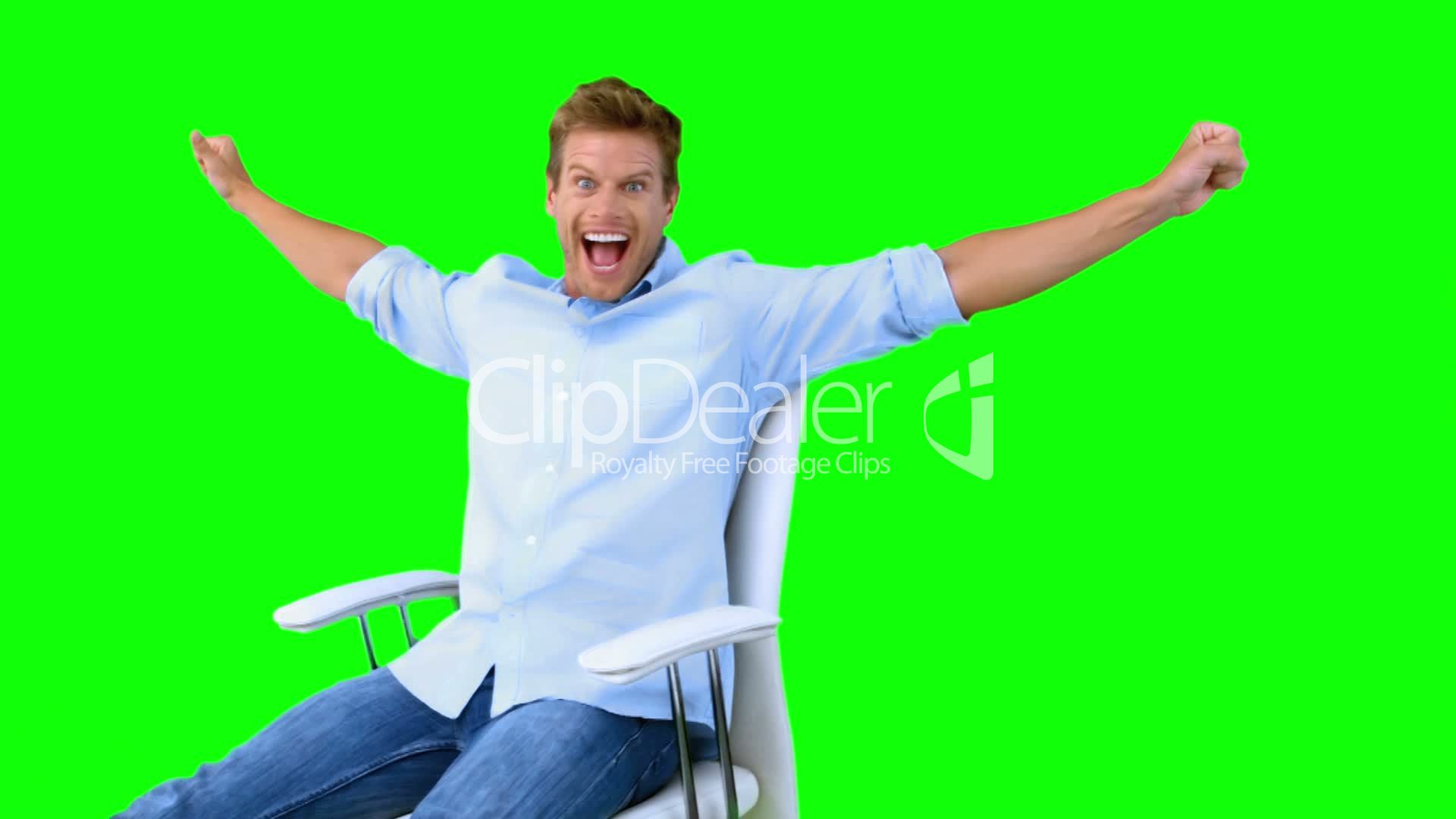 swivel chair definition dining room table and chairs for sale man sitting on with raised arms to show his success green screen: royalty-free ...
