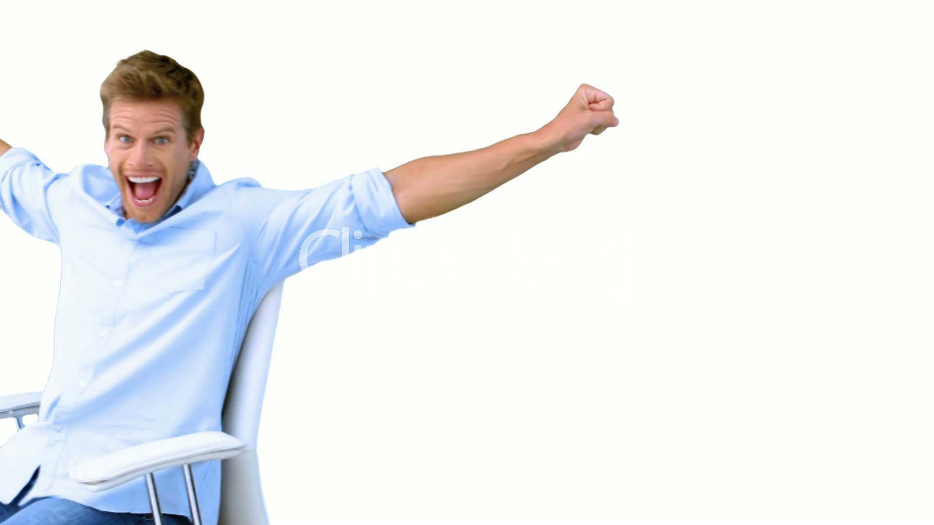 Man on swivel chair raising arms to show his success on