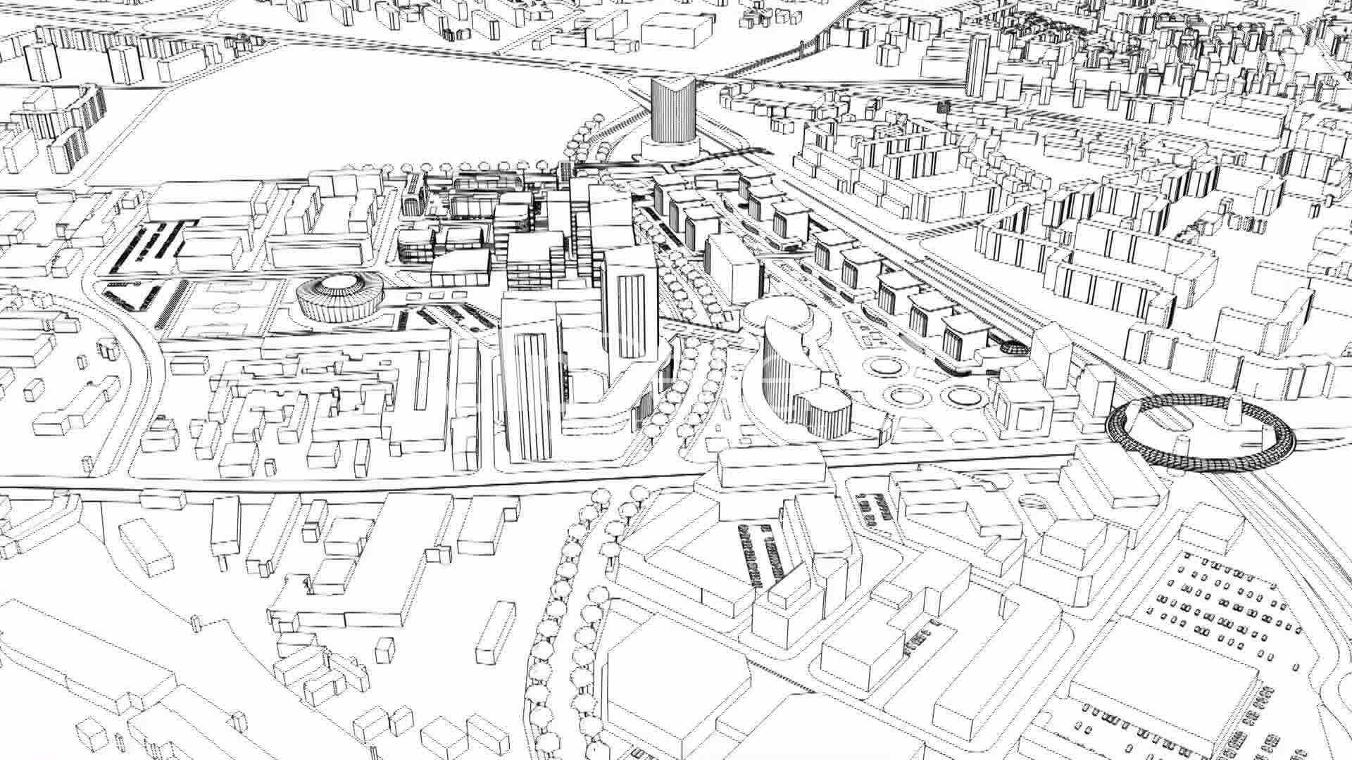 loopable aerial view of city wire model: Royalty-free