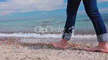 Slim Girl In Jeans Barefoot Beach Royalty