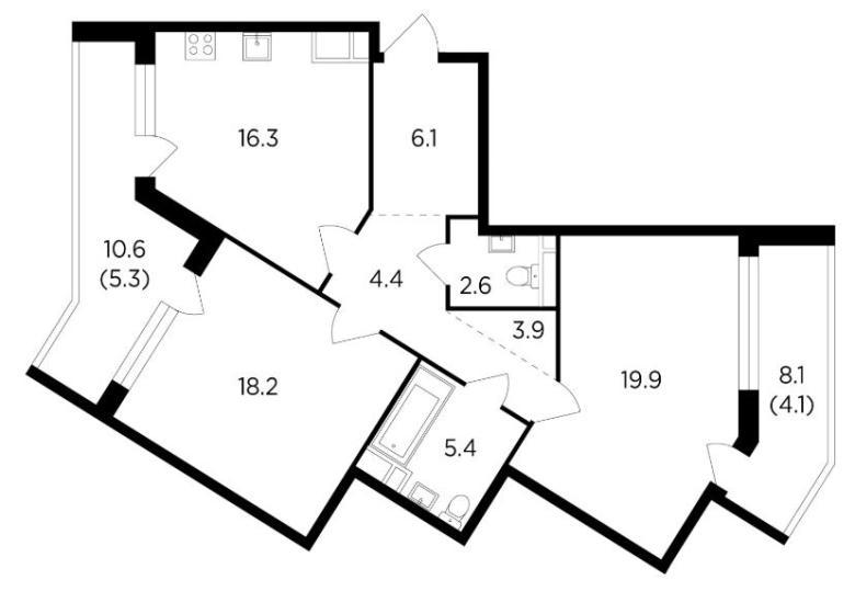 двухкомнатная квартира жк ривер скай