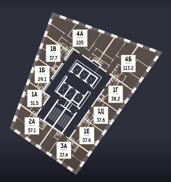план 58 этажа в корпусе 2