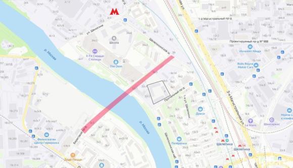 жк левел причальный на карте, мост