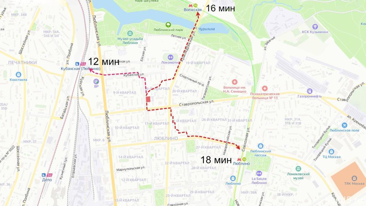ЖК Расцветай в Люблино на карте