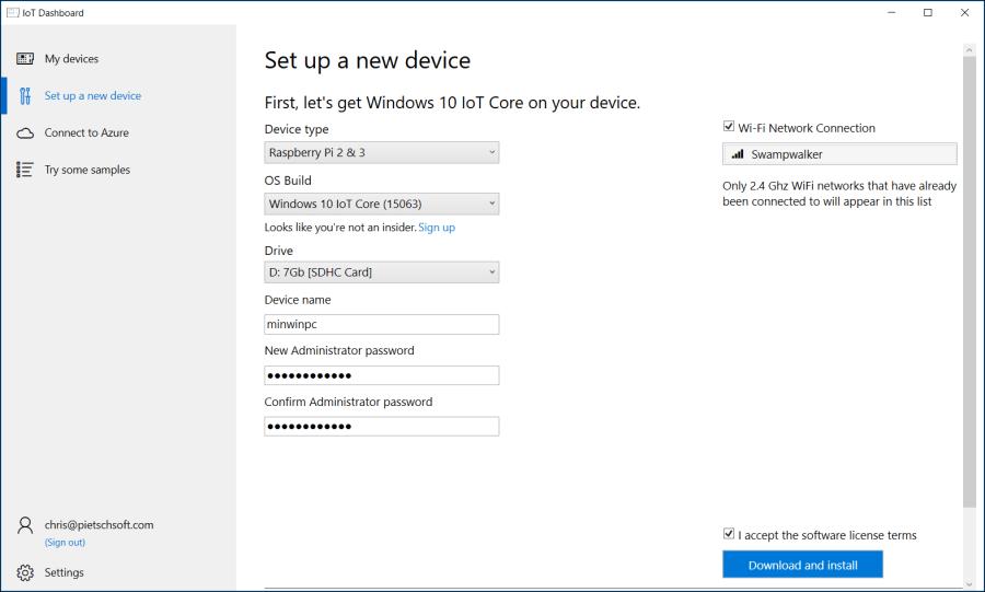 Setup Raspberry Pi with Windows 10 IoT Core 2