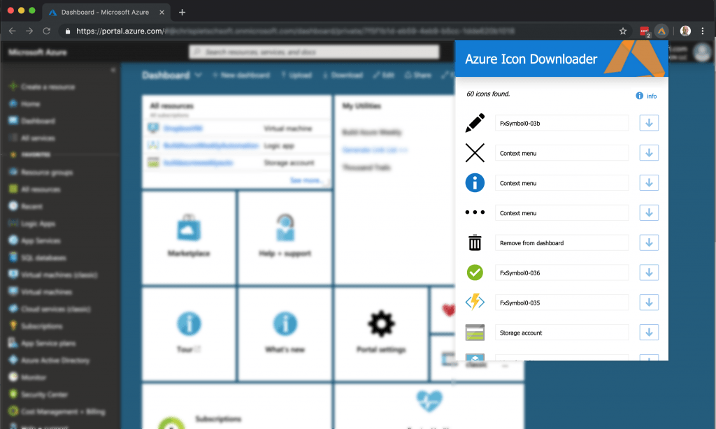 Azure Icon Downloader Chrome Extension 1