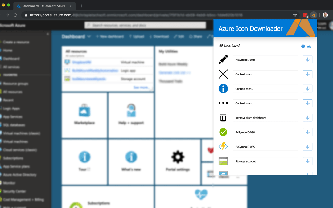 Azure Icon Downloader Chrome Extension