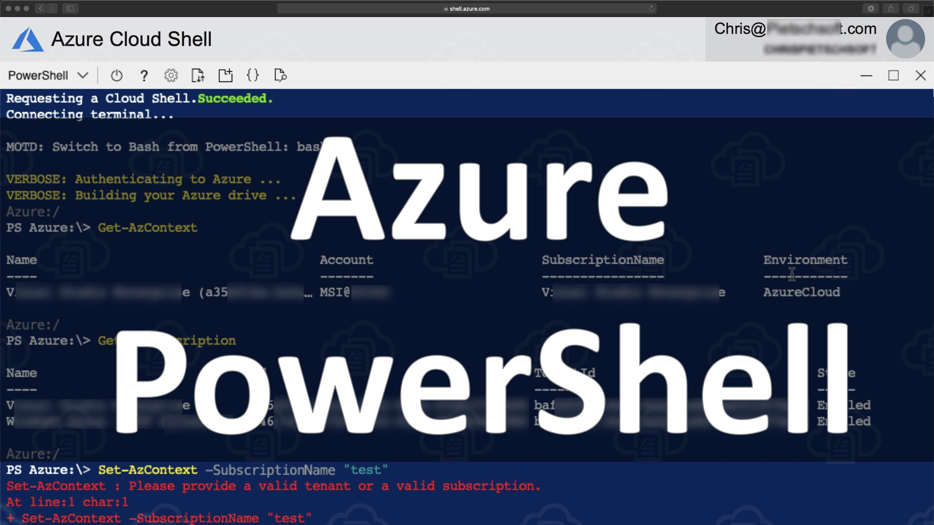 Azure PowerShell Az: List and Set Azure Subscription 7