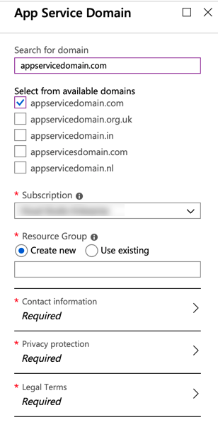 Buy Domain Names with Azure App Service Domain 2