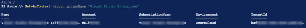 Azure PowerShell Az: List and Set Azure Subscription 3