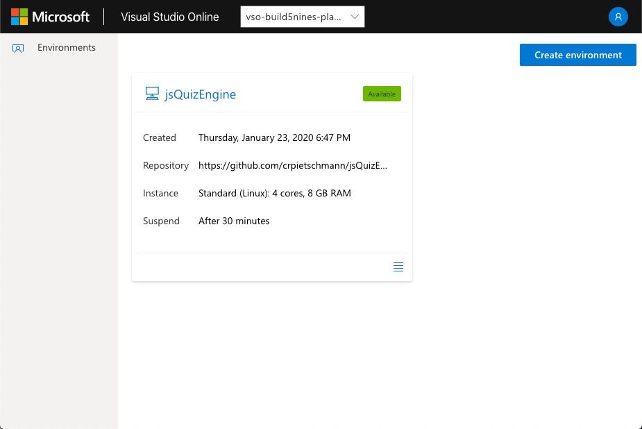 Visual Studio Online - Environment List