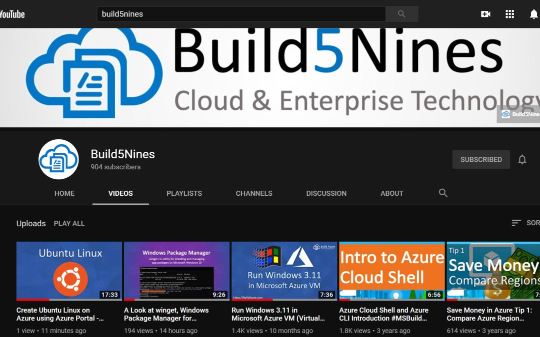 Subscribe to Build5Nines on YouTube!