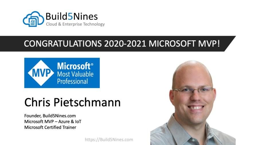 Chris Pietschmann Awarded 2020 Microsoft MVP in Azure